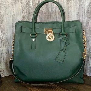 New Michael Kors Malachite Leather Hamilton Bag